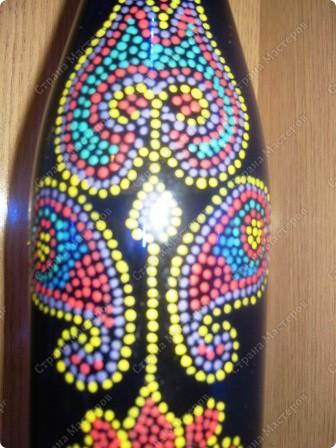 Роспись по стеклу. Не могу оставить в покое бутылки. Особенно с таким красивым синим стеклом. фото 3
