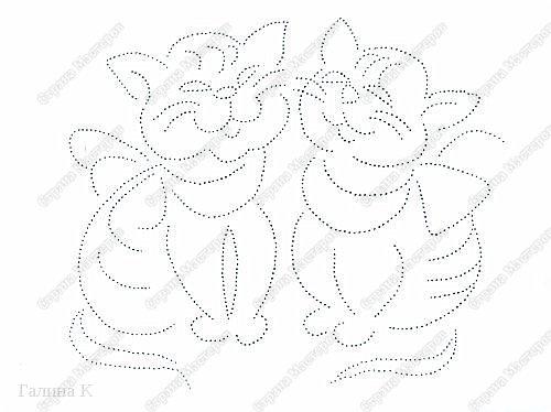 Таких котяток увидела в виде схемы вышивки крестом.Очень они мне понравились, но решила вышить их в технике изонить. фото 3