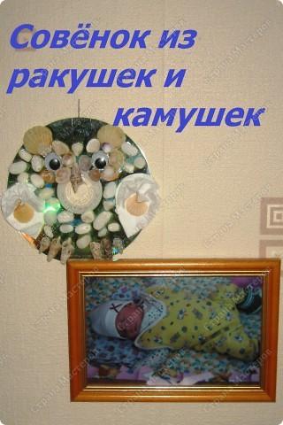 Совёнок из ракушек и камушек фото 1