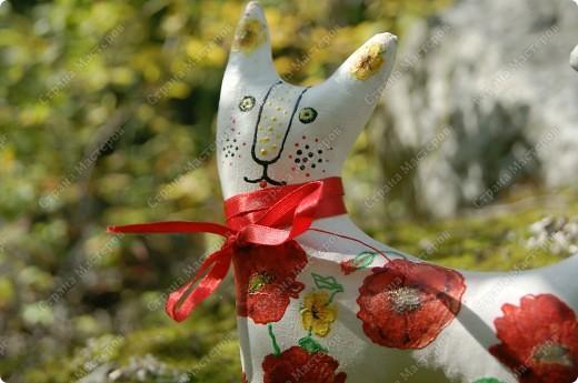 Кот Маковый. Грунтованный текстиль и декупаж на ткани. фото 2