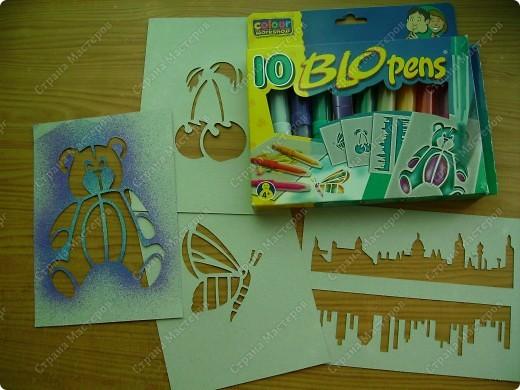 """Вот это чудо! Я их назвала """"Брызгающие фломастеры"""", на упаковке написано """"Блопенс""""(да простят меня знатоки английского!"""") 10 цветов +4 картонных трафарета. фото 1"""