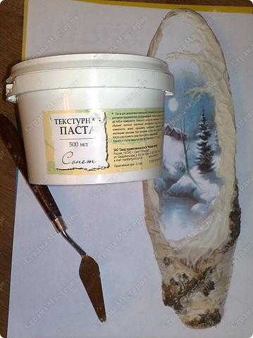 берем заготовку (срез березы)грунтуем акрил.грунтом( фото 3