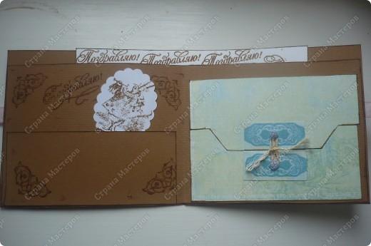 подарочный конверт (материалы: пастельная бумага, скрапбумага, ленточка в горох, штампы, вырубка, камея, цветочки все из пластики) фото 4