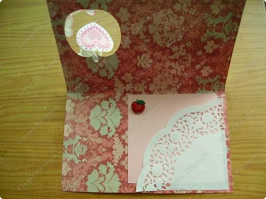Третья открытка. Свадебная.Яблоко на этой открытке символичное. Наполненное любовью. Цветы яблони, плод, сердце - как круговорот жизни фото 2