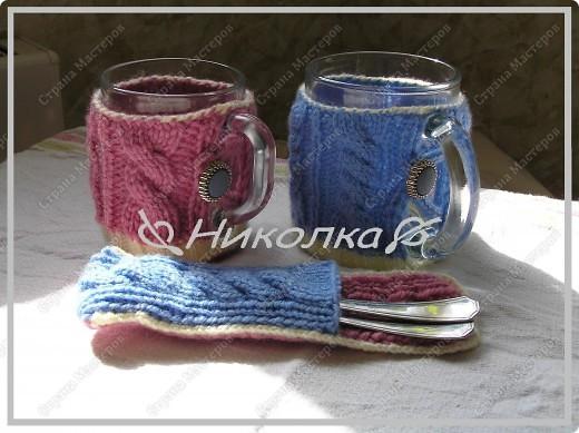 2 чашки + чехол для чайных ложечек