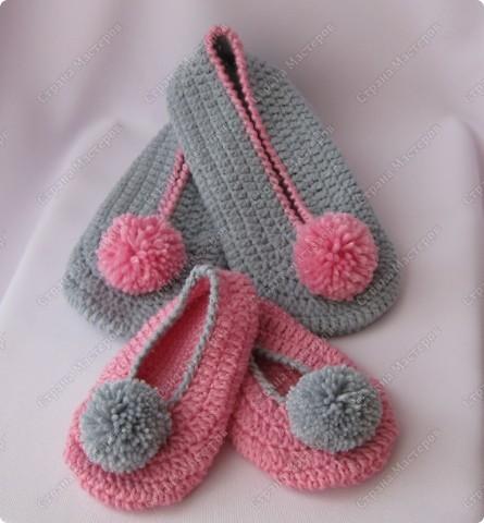 Тапоточки для мамы и дочки фото 1