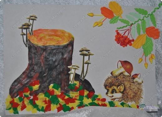 """В садике у сынули был очередной конкурс поделок на осеннюю тематику. Ну вот как-то так мы с ним поучаствовали :-))) Сотворили картину """"Осенняя пора... или по грибы"""". фото 1"""