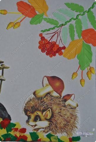"""В садике у сынули был очередной конкурс поделок на осеннюю тематику. Ну вот как-то так мы с ним поучаствовали :-))) Сотворили картину """"Осенняя пора... или по грибы"""". фото 2"""