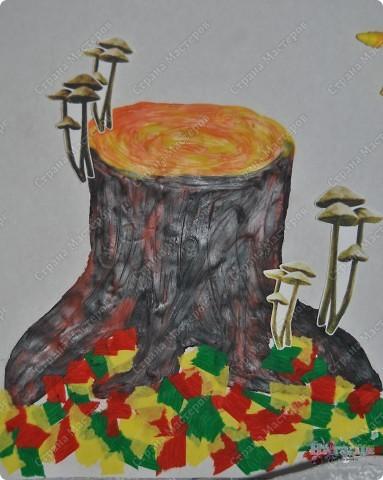 """В садике у сынули был очередной конкурс поделок на осеннюю тематику. Ну вот как-то так мы с ним поучаствовали :-))) Сотворили картину """"Осенняя пора... или по грибы"""". фото 3"""