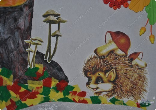 """В садике у сынули был очередной конкурс поделок на осеннюю тематику. Ну вот как-то так мы с ним поучаствовали :-))) Сотворили картину """"Осенняя пора... или по грибы"""". фото 4"""