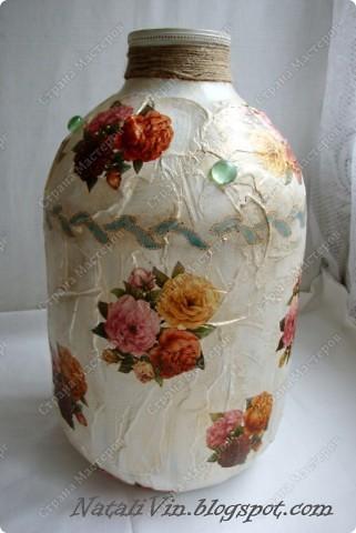 Всем доброе время суток)))) Сестра углядев напольную вазу у меня ...выпросила себе. Салфетка та же что и на банки под сыпучие.  фото 1