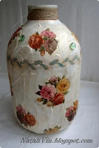 Всем доброе время суток)))) Сестра углядев напольную вазу у меня ...выпросила себе. Салфетка та же что и на банки под сыпучие.  фото 2