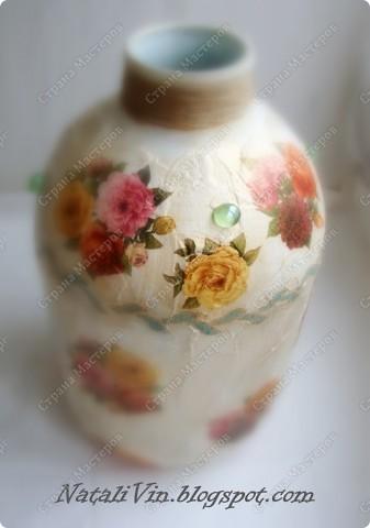 Всем доброе время суток)))) Сестра углядев напольную вазу у меня ...выпросила себе. Салфетка та же что и на банки под сыпучие.  фото 3