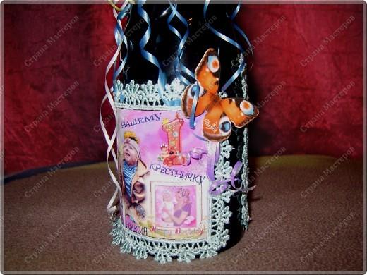 Хочу показать бутылочки, которые я сделала к первому дню рождения своего крестничка. Среди них есть и бутылочка, предназначенная для открытия в день совершеннолетия. фото 5