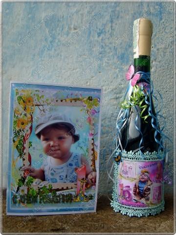 Хочу показать бутылочки, которые я сделала к первому дню рождения своего крестничка. Среди них есть и бутылочка, предназначенная для открытия в день совершеннолетия. фото 6