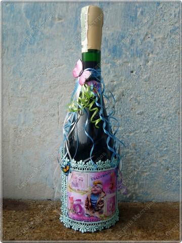 Хочу показать бутылочки, которые я сделала к первому дню рождения своего крестничка. Среди них есть и бутылочка, предназначенная для открытия в день совершеннолетия. фото 3