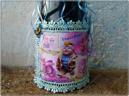 Хочу показать бутылочки, которые я сделала к первому дню рождения своего крестничка. Среди них есть и бутылочка, предназначенная для открытия в день совершеннолетия. фото 4