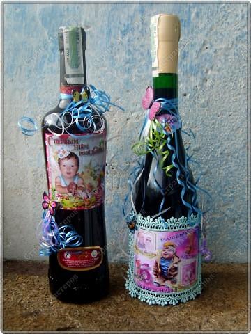 Хочу показать бутылочки, которые я сделала к первому дню рождения своего крестничка. Среди них есть и бутылочка, предназначенная для открытия в день совершеннолетия. фото 2