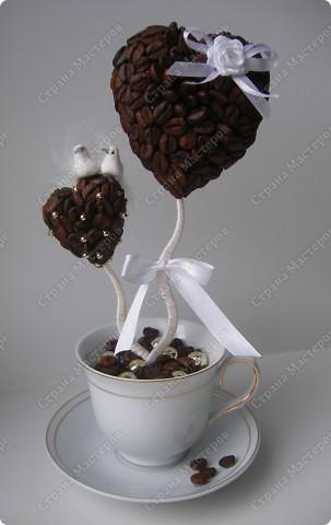 """Добрый день всем мастерицам! Представляю новое( или старое) деревце на свадьбу. По мотивам """"Верность кофе"""" заказали такое же, но на свадьбу!  фото 1"""