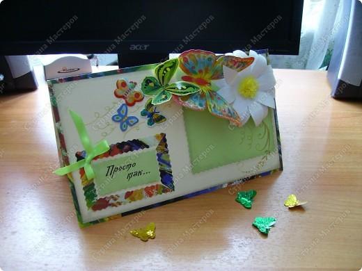 Ну никак не получаются скрап-открытки... Ну нравится использовать бросовый материал, нравятся бабочки, которые слетелись на ромашку   в большом количестве... фото 7
