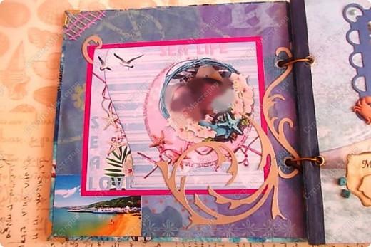 Альбом в подарок сестре. Обложка из хлопка украшена шнуром, полубусинами, чипбордом фото 9