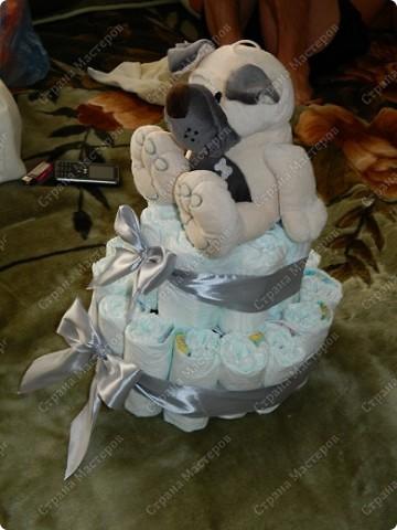 Первый раз попробовала сделать тортик из памперсов.Вот что получилось...... фото 2