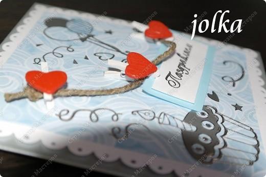 Первая открытка для новорождённого мальчика. Использованные материалы: скрап-бумага, картон, наклейки, бечевка, декоративные элементы фото 1