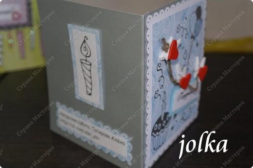 Первая открытка для новорождённого мальчика. Использованные материалы: скрап-бумага, картон, наклейки, бечевка, декоративные элементы фото 2