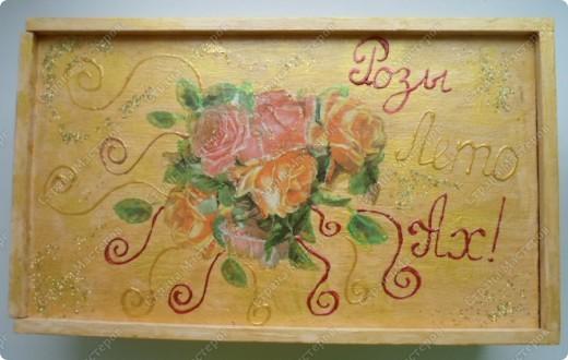 Ящик из-под фужеров, декорированный декупажной картой. фото 1
