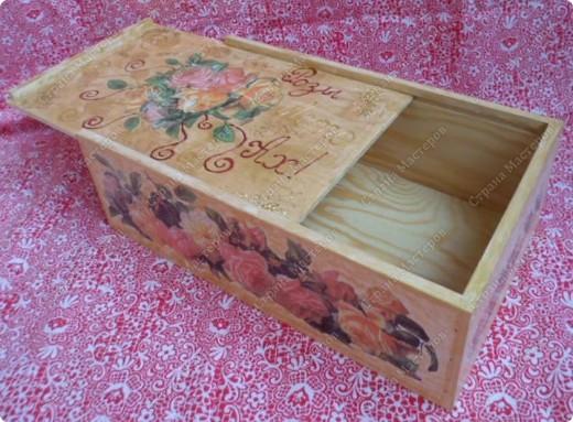 Ящик из-под фужеров, декорированный декупажной картой. фото 4