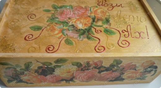 Ящик из-под фужеров, декорированный декупажной картой. фото 5