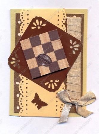 """Решила  здесь собирать свои кофейные открытки и карточки, которые появятся этим летом :)) Получила недавно от Марины (ШМыГа) и Светланы (Россиянка) именно то, что мне надо для кофейного творчества. СПАСИБО!!! И приступила :))) Это открытка (двойная).  Начало """"кофейного строительства"""" - маленький домик :))  фото 3"""