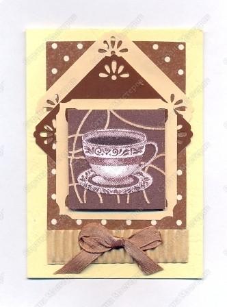 """Решила  здесь собирать свои кофейные открытки и карточки, которые появятся этим летом :)) Получила недавно от Марины (ШМыГа) и Светланы (Россиянка) именно то, что мне надо для кофейного творчества. СПАСИБО!!! И приступила :))) Это открытка (двойная).  Начало """"кофейного строительства"""" - маленький домик :))  фото 1"""