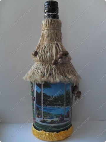 """заказали две бутылочки в одном стиле... тема: """"Лето..море..экзотика..."""" что получилось - смотрите... фото 4"""
