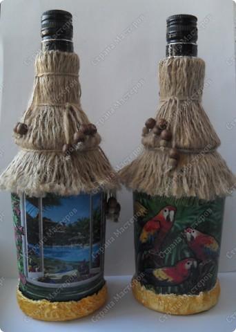 """заказали две бутылочки в одном стиле... тема: """"Лето..море..экзотика..."""" что получилось - смотрите... фото 1"""