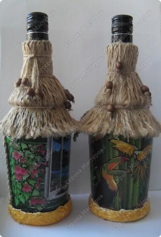 """заказали две бутылочки в одном стиле... тема: """"Лето..море..экзотика..."""" что получилось - смотрите... фото 3"""