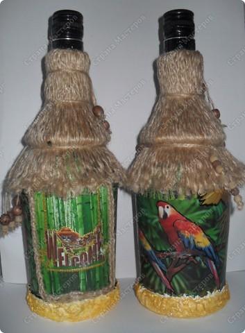 """заказали две бутылочки в одном стиле... тема: """"Лето..море..экзотика..."""" что получилось - смотрите... фото 2"""