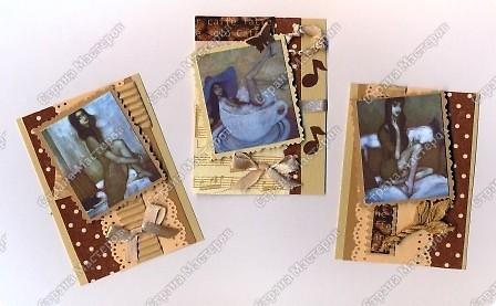 """Решила  здесь собирать свои кофейные открытки и карточки, которые появятся этим летом :)) Получила недавно от Марины (ШМыГа) и Светланы (Россиянка) именно то, что мне надо для кофейного творчества. СПАСИБО!!! И приступила :))) Это открытка (двойная).  Начало """"кофейного строительства"""" - маленький домик :))  фото 6"""
