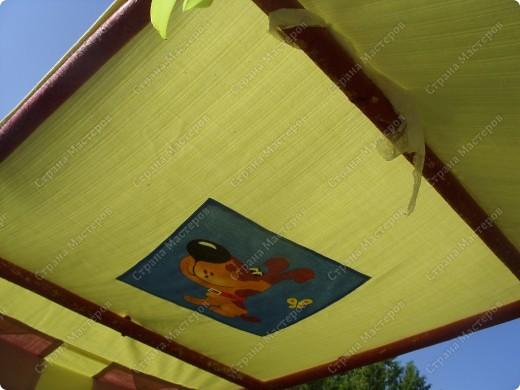 Вот такую крышу сшила на мини-беседку для деток в детский сад на участок фото 5