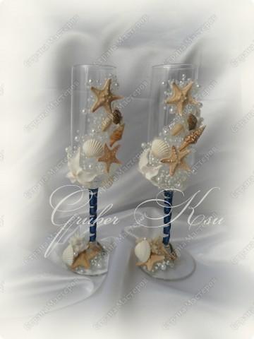 Набор для свадьбы в морском стиле. Бокалы,сундук,свеча,подставка для колец,папка для свидетельства. Все украшения настоящие,морские звезды,ракушкм и кораллы. фото 2