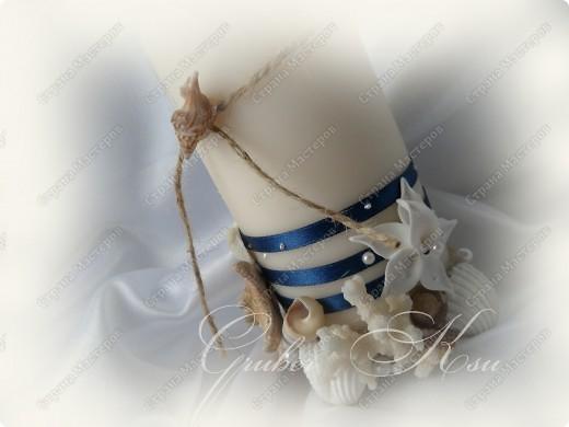 Набор для свадьбы в морском стиле. Бокалы,сундук,свеча,подставка для колец,папка для свидетельства. Все украшения настоящие,морские звезды,ракушкм и кораллы. фото 4