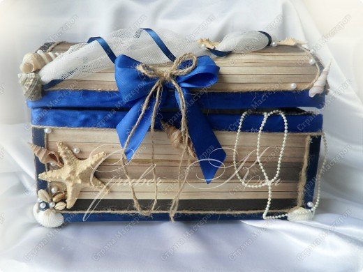 Набор для свадьбы в морском стиле. Бокалы,сундук,свеча,подставка для колец,папка для свидетельства. Все украшения настоящие,морские звезды,ракушкм и кораллы. фото 5