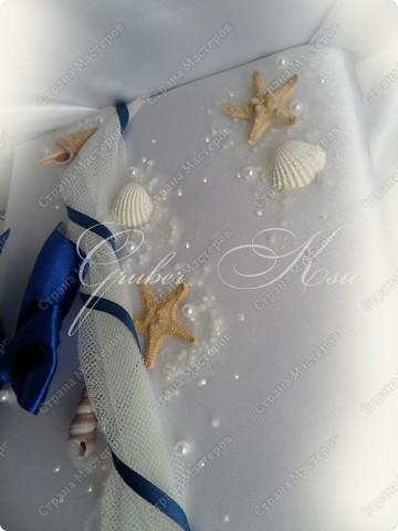 Набор для свадьбы в морском стиле. Бокалы,сундук,свеча,подставка для колец,папка для свидетельства. Все украшения настоящие,морские звезды,ракушкм и кораллы. фото 7