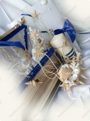 Набор для свадьбы в морском стиле. Бокалы,сундук,свеча,подставка для колец,папка для свидетельства. Все украшения настоящие,морские звезды,ракушкм и кораллы. фото 10