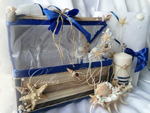 Набор для свадьбы в морском стиле. Бокалы,сундук,свеча,подставка для колец,папка для свидетельства. Все украшения настоящие,морские звезды,ракушкм и кораллы. фото 9