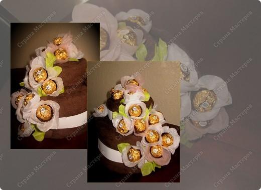 Подарок подруге-кондитеру. Основа торта - два больших полотенца коричневого цвета. Цветы - конфеты и бумага. Это мой первый опыт свит-дизайна... Думаю, неплохо получилось. Но критика не помешает :)