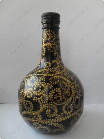 """снова заказали декорировать графинчики.... хотели """"золота""""...но оговорились, что есть золотые бокальчики с чёрной окантовочкой... ну что ж...думаю,что теперь будет наборчик: графины и бокалы... фото 6"""