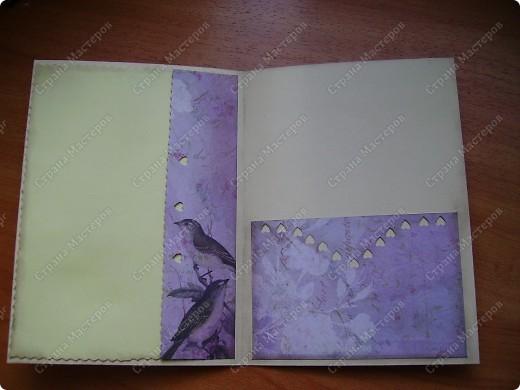 """В нашем городе стал появляться материал для скрапбукинга, не смогла устоять. листы бумаги можно выбрать поштучно (что очень мне понравилось): односторонние, двусторонние. Короче, прикупила и сразу села творить. На этой открытке основа - плотная офисная бумага розового цвета, а вот фон - из купленной бумаги """"в розочку"""" фото 10"""