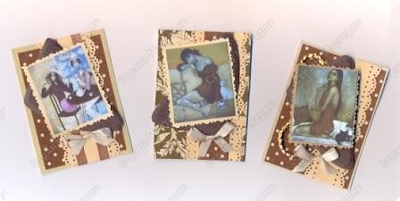"""Решила  здесь собирать свои кофейные открытки и карточки, которые появятся этим летом :)) Получила недавно от Марины (ШМыГа) и Светланы (Россиянка) именно то, что мне надо для кофейного творчества. СПАСИБО!!! И приступила :))) Это открытка (двойная).  Начало """"кофейного строительства"""" - маленький домик :))  фото 7"""