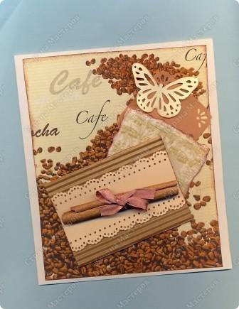 """Решила  здесь собирать свои кофейные открытки и карточки, которые появятся этим летом :)) Получила недавно от Марины (ШМыГа) и Светланы (Россиянка) именно то, что мне надо для кофейного творчества. СПАСИБО!!! И приступила :))) Это открытка (двойная).  Начало """"кофейного строительства"""" - маленький домик :))  фото 9"""